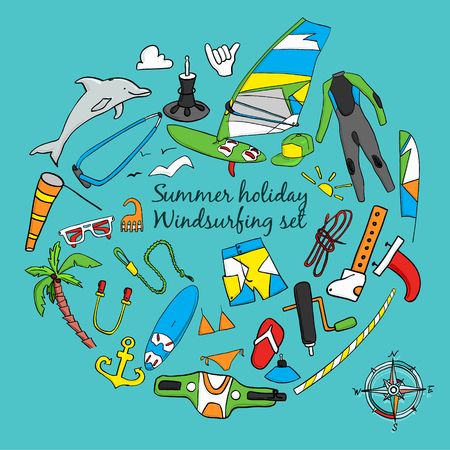 wetsuit: Vector set of windsurfing icons. Board with a sail, wetsuit, surfboard, wind, sail, sunglasses. All for lovers of active holidays at sea and active lifestyle. Family summer holiday.