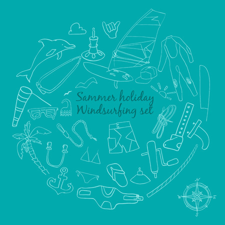 Vector set of windsurfing icons. Board with a sail, wetsuit, surfboard, wind, sail, sunglasses. All for lovers of active holidays at sea and active lifestyle. Family summer holiday.