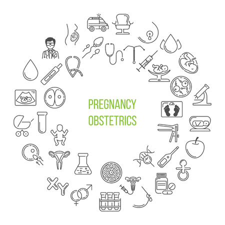 Pregnant and obstetrics concept with different obstetrics elements and other gynecological research vector symbols isolated on background. Perfect illustration for  banner.