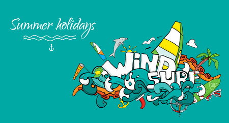 Vector card of windsurfing. Board with a sail, wetsuit, surfboard, wind, sail, sunglasses. All for lovers of active holidays at sea and active lifestyle. Family summer holiday.