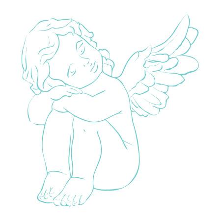 Carino vettore isolato concetto di carta con mano disegnato piccolo angelo. Bella biglietto di auguri di Natale