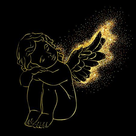 Scheda di concetto di vettore isolato carino con piccolo angelo disegnato a mano. Bellissimo sfondo di Buon Natale con effetto glitter