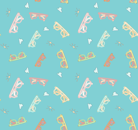 Vector seamless pattern, hand drawn doodle style sunglasses set. Good vector illustration for your background or textile
