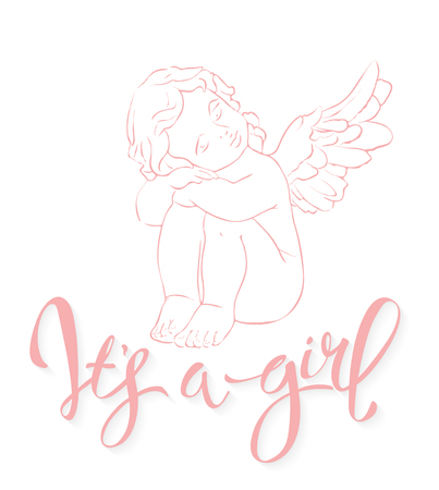 Calligraphy lettering Its a girl. Vector hand drawn invitation to the baby shower for a girl with angel and pink glittering confetti Ilustração