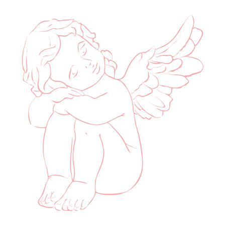 Cute isolated vector concept card with hand drawn  little angel. Beautiful  Merry Christmas  background
