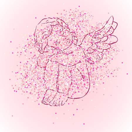 mother and baby: Calligraphy lettering Its a girl. Vector hand drawn invitation to the baby shower for a girl with angel and pink glittering confetti Illustration