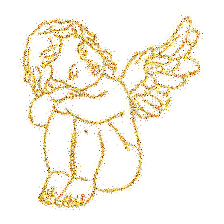 Cute isolated vector concept card with hand drawn little angel with glitter effect Vettoriali