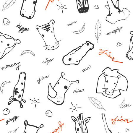 Cute seamless vector pattern africa animals. Perfect for textile or background for site.