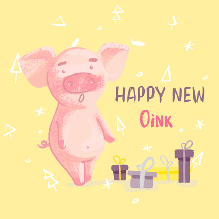 Conceptual vector illustration with lettering happy new oink and cartoon style pig isolated on background. Hand drawn vector illustration.