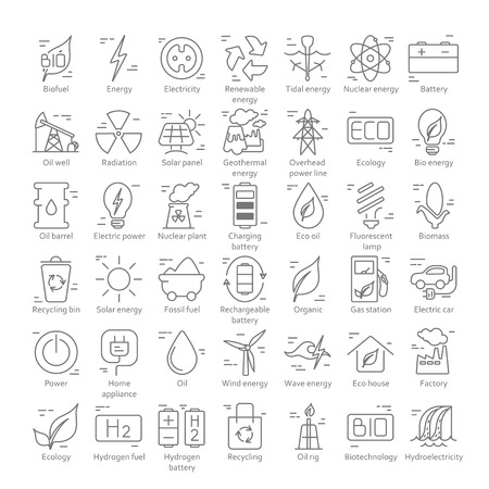 Sammlung von Vektorsymbolen im linearen Stil zum Thema Strom. Erneuerbare und nicht erneuerbare Ressourcen Vektorgrafik
