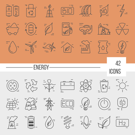 Big vector set of 42 modern thin line icons. Power generation and accumulation. Green energy icons collections isolated on background.