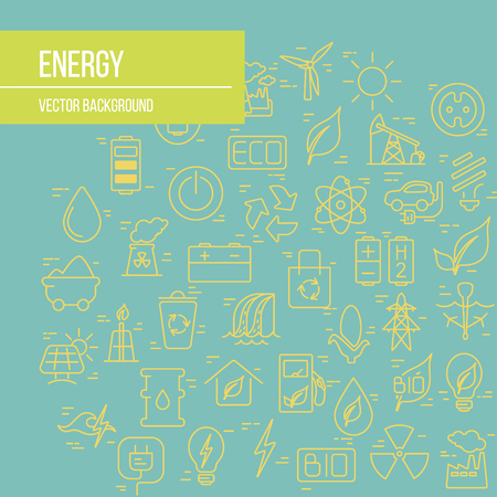 Green energy concept  vector symbols of  energy with place for your text. Illustration