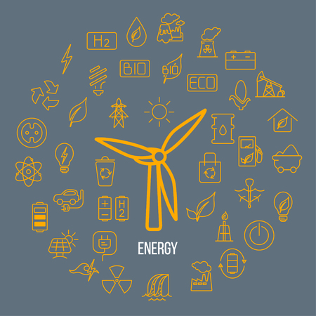 Line style vector illustration of renewable resources. Green energy symbols - solar panel, wind energy, eco house with place for your text. alternative energy concept isolated on background.