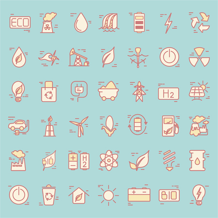 Line icons with power generation and accumulation  symbols