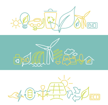 Green energy concept. Line style vector illustration. Renewable resources symbols isolated on background. Vettoriali
