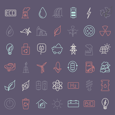 Collection of linear style vector icons  on the theme of electric power. Renewable and non-renewable resources Archivio Fotografico - 116691934