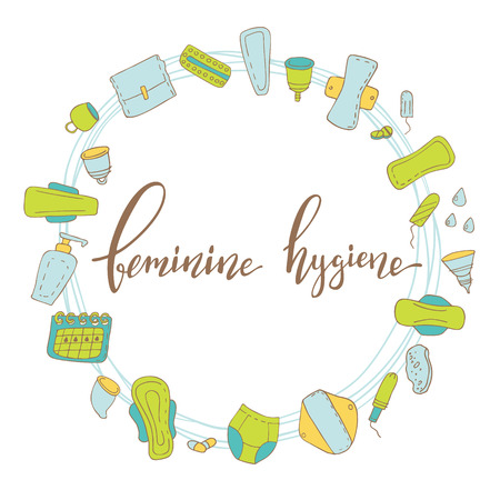 Conceptual vector illustration with lettering feminine hygiene  and cartoon style elements isolated on background. Hand drawn vector illustration.
