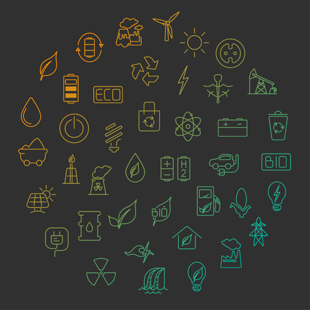 Green energy concept  vector symbols of  energy with place for your text. Vettoriali