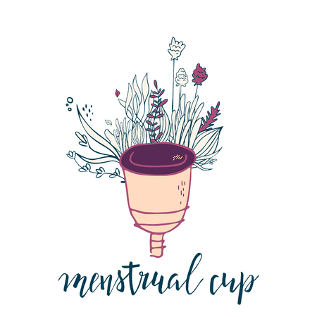 women's menstrual cup with flowers in handdrawn style. Lettering -menstrual cup