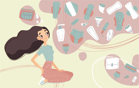 Conceptual vector illustration of feminine hygiene products . Menstrual cups, sea sponge, sanitary  napkin, cloth menstrual pad, tampons and cartoon style girl isolated on background.