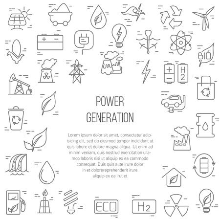 Green energy concept  vector symbols of  energy with place for your text. Stock Illustratie