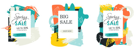 Colorful modern hand drawn vector set of cards. Sale banner template design