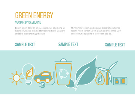 Vector green energy concept . Symbols of  energy with place for your text and sample buttons.