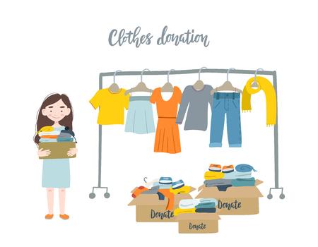 Ilustración de vector plano moderno. Mujer sosteniendo una caja de cartón con ropa para donación o reciclaje y perchas.