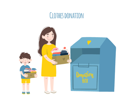 Modern flat vector illustration. Mother and son holding cardboard boxes with clothing for donation or recycling and clothing container. 矢量图像
