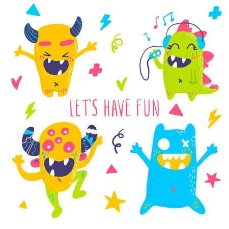 Cute cartoon monsters collection. Vector set of flat isolated monsters. Good design for illustration, poster, print, t-shirt, party decoration, logo, emblem or sticker.