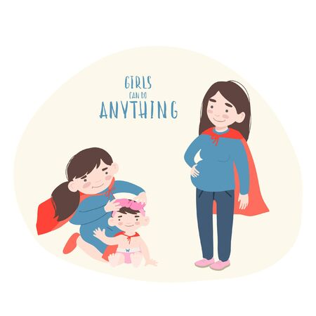 Superhero mother and daughters in superheroes costume. Illustration