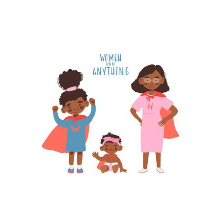 flat style illustration. Set of cartoon characters cute african girls and woman in superheroes costume. Feminism concept women can do anything for party, invitations, web, print.