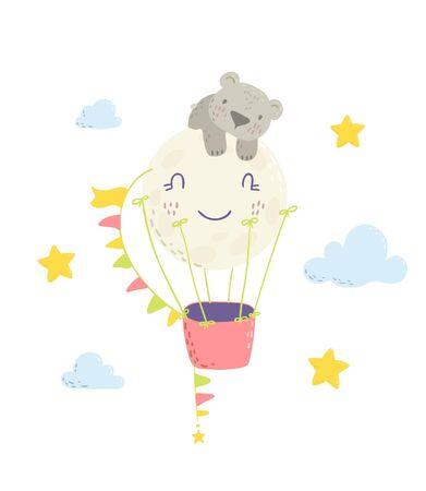 Cute sleeping bear on a hot air  balloon cartoon flat vector illustration for kids. Perfect for t-shirt print, nursery  textile, kids wear fashion design, baby shower invitation card. Ilustração