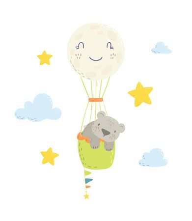 Cute bear is flying in a hot air  balloon cartoon flat vector illustration for kids. Perfect for t-shirt print, nursery  textile, kids wear fashion design, baby shower invitation card.