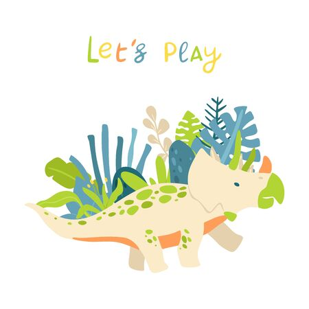 Flat cartoon style cute dinosaur with tropical leaves. Vector illustration for card or poster, children room decoration, kids dino party designs, kids fashion. Lettering