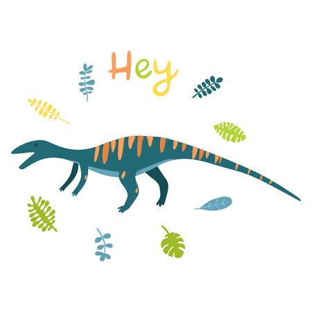Flat cartoon style cute dinosaur. Vector illustration for card or poster, children room decoration, kids dino party designs, kids fashion. Lettering Hey