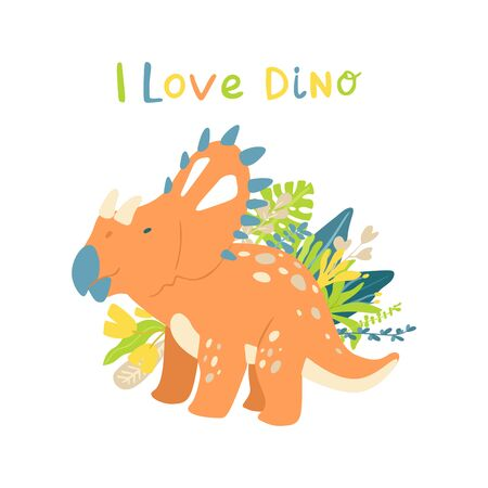 Flat cartoon style cute dinosaur with tropical leaves. Vector illustration for card or poster, children room decoration, kids dino party designs, kids fashion. Lettering I love dino Çizim