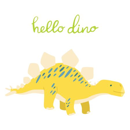 Flat cartoon style cute dinosaur.  Vector illustration for card or poster, children room decoration, kids dino party designs, kids fashion. Lettering hello dino Çizim