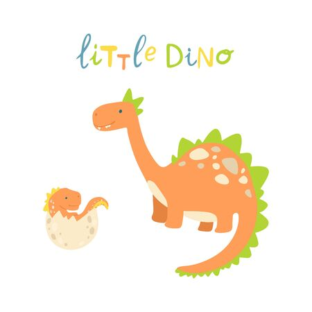 Flat cartoon style cute dinosaur with baby dino in the egg.  Vector illustration for card or poster, children room decoration, kids dino party designs, kids fashion. Lettering little dino