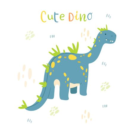 Flat cartoon style cute blue dinosaur. Vector illustration for card or poster, children room decoration, kids dino party designs, kids fashion. Lettering Cute dino