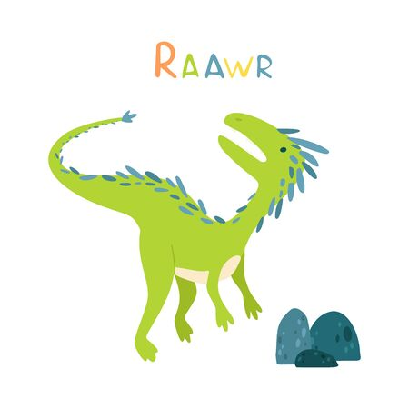 Flat cartoon style cute dinosaur with stones. Vector illustration for card or poster, children room decoration, kids dino party designs, kids fashion. Lettering Raawr Çizim