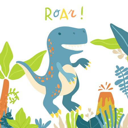 Flat cartoon style cute tyrannosaur dinosaur. Vector illustration for card or poster, children room decoration, kids dino party designs, kids fashion. Lettering Roar