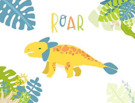Flat cartoon style cute dinosaur with tropical leaves. Vector illustration for card or poster, children room decoration, kids dino party designs, kids fashion. Lettering Roar Çizim