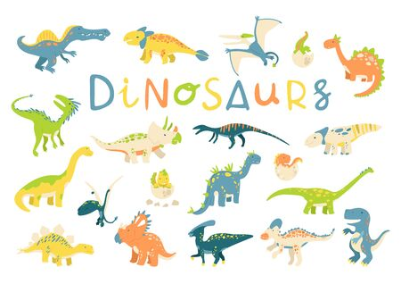 Big vector set of different dinosaurs in flat cartoon style. Best for card or poster, children room decoration, kids dino party designs, kids fashion. Çizim