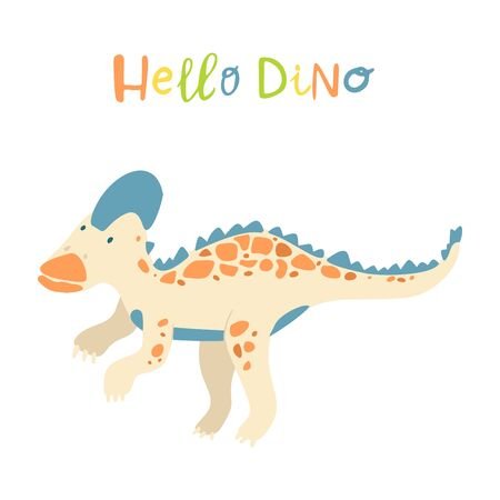 Flat cartoon style cute dinosaur.  Vector illustration for card or poster, children room decoration, kids dino party designs, kids fashion. Lettering Hello dino