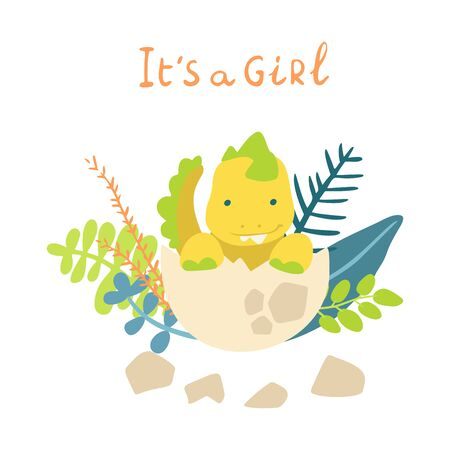 Flat cartoon style cute dinosaur in the egg with tropical leaves. Vector illustration for card or poster, children room decoration, kids dino party designs, kids fashion. Lettering It is a girl Çizim