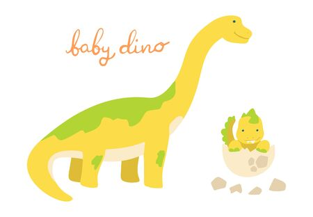 Flat cartoon style cute dinosaur with baby dino in the egg. Vector illustration for card or poster, children room decoration, kids dino party designs, kids fashion. Lettering Baby dino