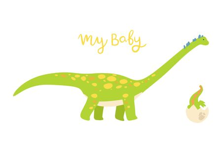 Flat cartoon style cute dinosaur with baby dino in the egg. Vector illustration for card or poster, children room decoration, kids dino party designs, kids fashion. Lettering My baby