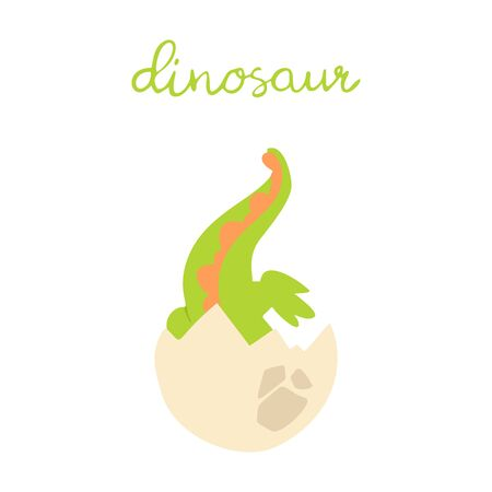 Flat cartoon style cute dinosaur in the egg. Vector illustration for card or poster, children room decoration, kids dino party designs, kids fashion. Lettering dinosaur