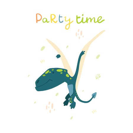 Flat cartoon style cute pterodactyl dinosaur. Vector illustration for card or poster, children room decoration, kids dino party designs, kids fashion. Lettering Party time